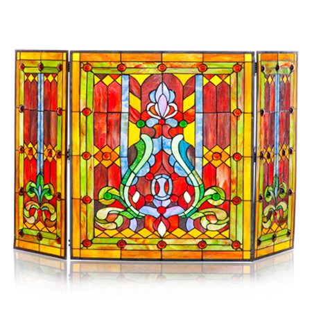 River Of Goods Fleur De Lis Stained Glass Fireplace Screen