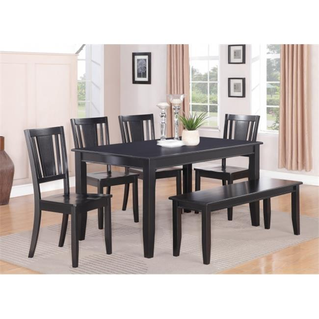 East West Furniture DULE6-BLK-W 6PC Dudley Table 36 in x 60in and 4 wood seat Chairs and 52-in Long Bench