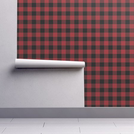 Peel-and-Stick Removable Wallpaper Buffalo Check Flannel Gingham Christmas Red ()