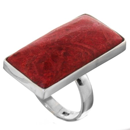 Bold Rectangle Red Coral 925 Sterling Silver Ring