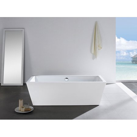 """Wynn 59"""" x 30"""" White Rectangle Soaking Bathtub by Pacific Collection"""