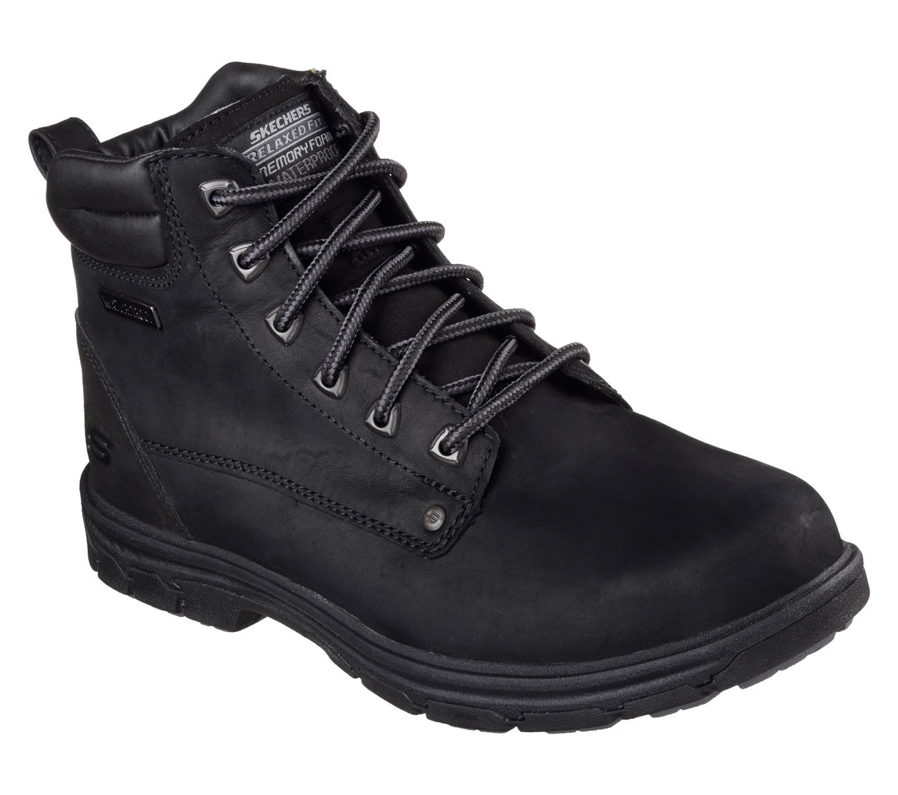 Relaxed Fit Segment Amson Mens Waterproof Boots Skechers  black