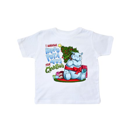 I Wanna Hippopotamus for Christmas- cute hippo Toddler T-Shirt