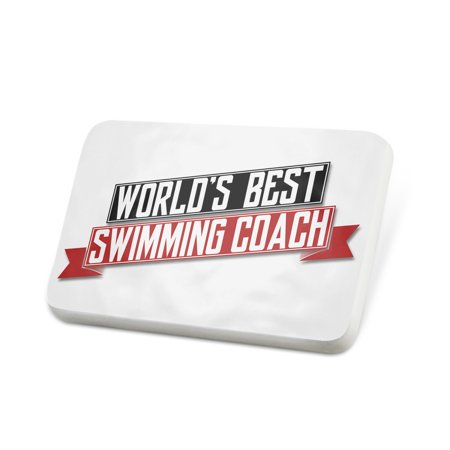 Porcelein Pin Worlds Best Swimming Coach Lapel Badge –