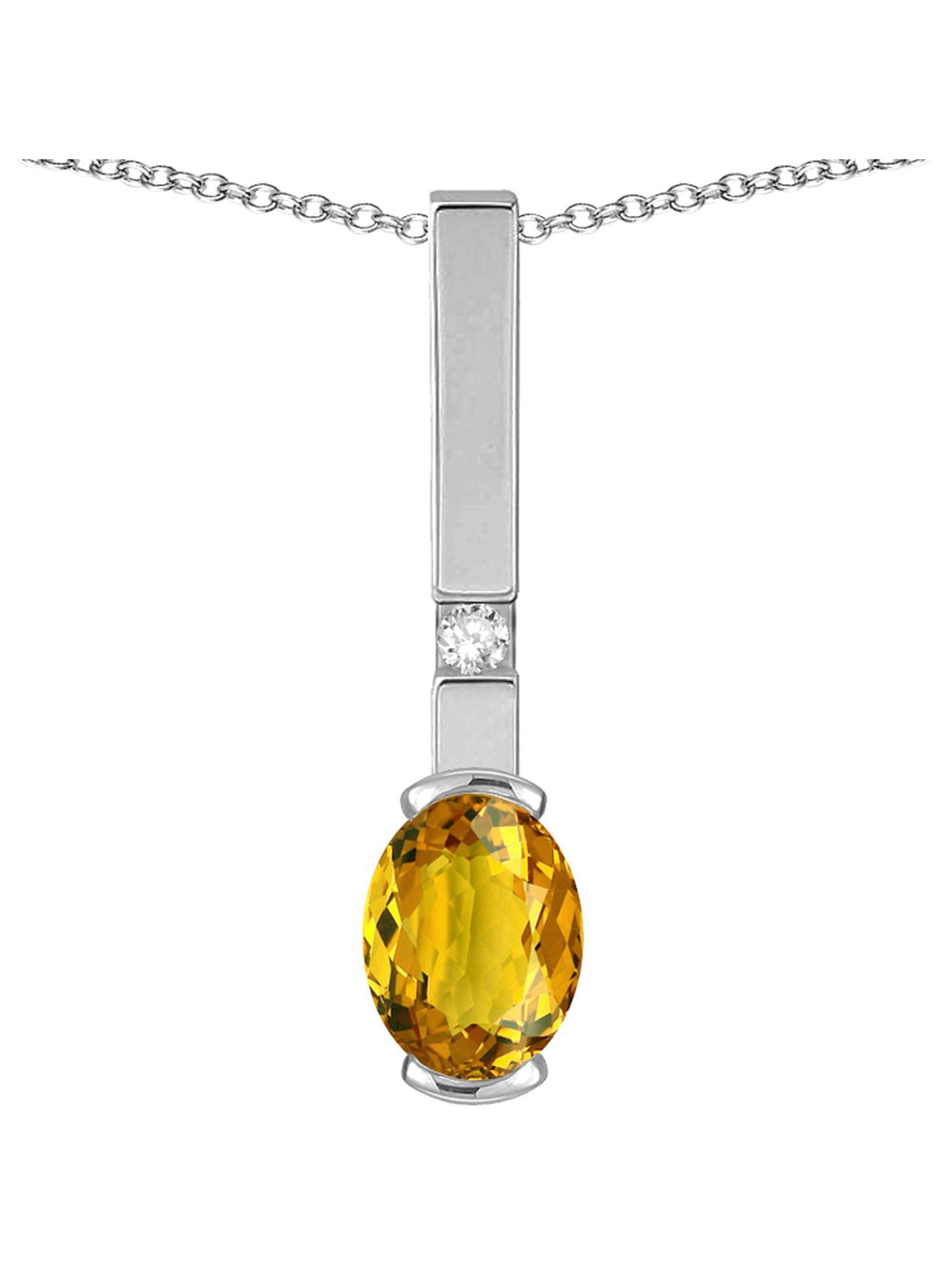 Star K Oval 8x6mm Genuine Citrine Bar Pendant Necklace by Star K