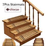 """Stair Treads Non-Slip - Skid Resistant Stair Carpet Set of 7 (8.5"""" x 26"""") Stair Mats with Rubber Backing for Grip and Beauty, Beige Floral Design"""