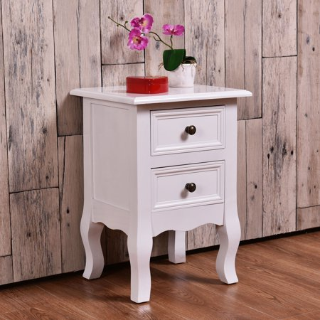 Table Hand Carved 5 Drawer - Costway White Curved Legs Accent Side End Table Nigh stand Furniture  W/2 Drawers