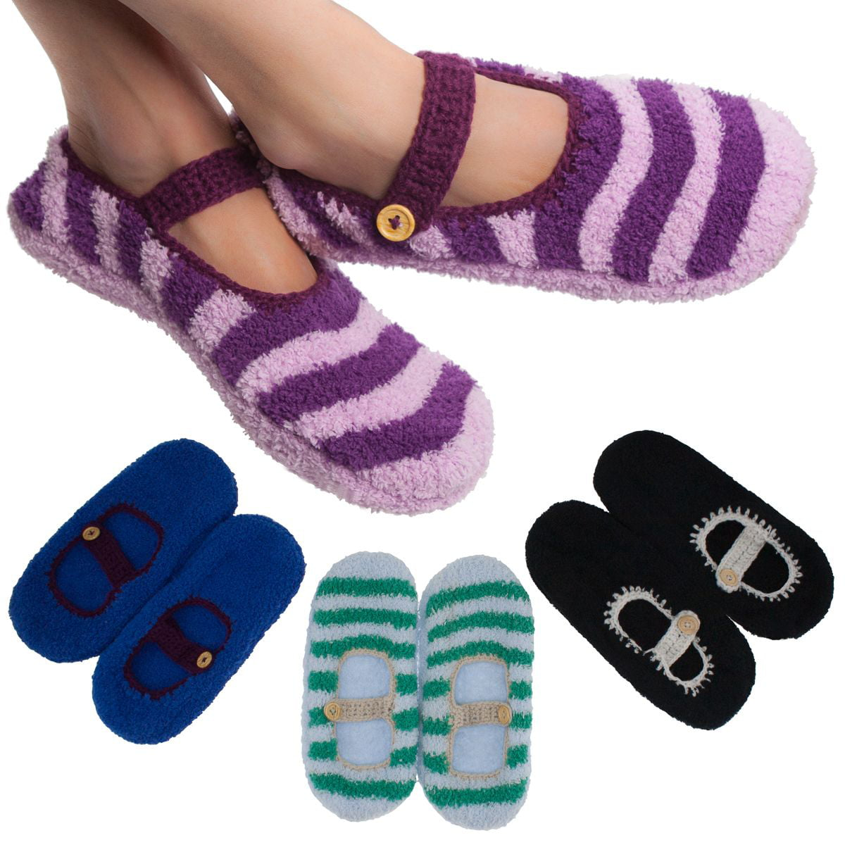 4 Pairs Women S Mary Jane Slipper Socks Fuzzy Non Skid Assorted