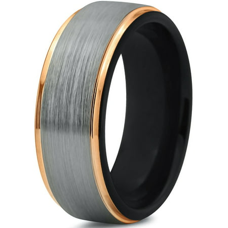 Tungsten Wedding Band Ring 10mm for Men Women Black & 18K Yellow Gold Plated Stepped Edge Polished Lifetime Guarantee