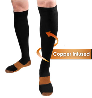 6 Pairs of Copper Infused Compression Socks