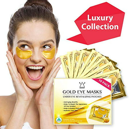 24k Gold Eye Masks, Hawwwy 10 Pack, Spa Like Feeling at Home, Under Eye Patches, Dark Circles Under Eye Treatment, Collagen Eye Pads, Eye Mask for Puffy Eyes, Under Eye Mask, Anti Aging Moisturizer (Purederm Collagen Eye)