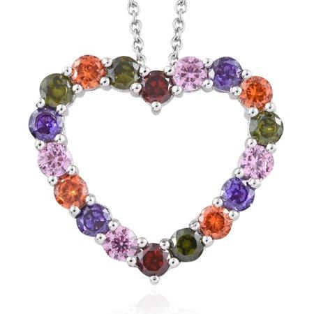 Cubic Zirconia Purple Pendant (Womens Round Cubic Zircon CZ Pink Cubic Zircon CZ Purple Love Heart Valentines Pendant Necklace for Women 20
