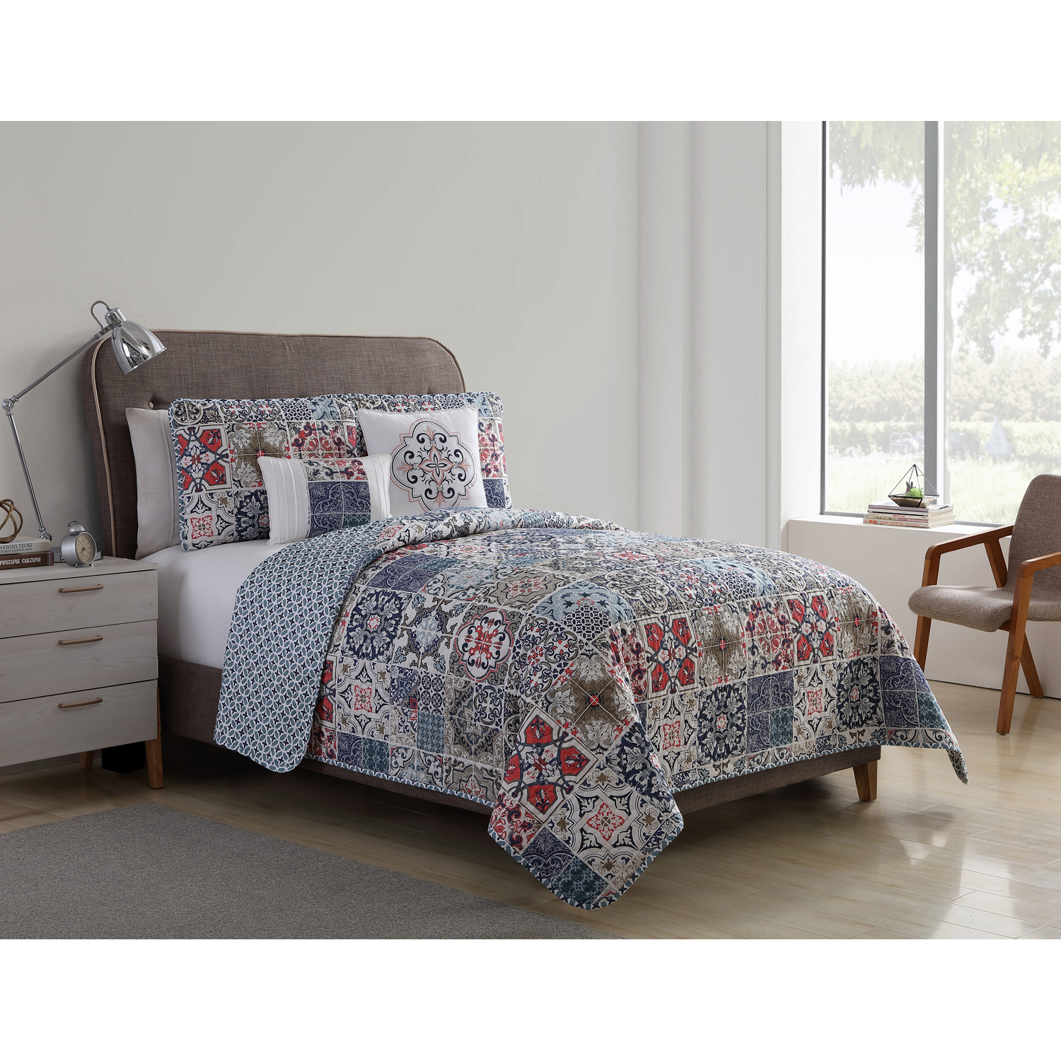 VCNY Home Multi-Color Azure Tile Medallion 4 5 Piece Quilt Bedding Set, Shams and... by VCNY Home