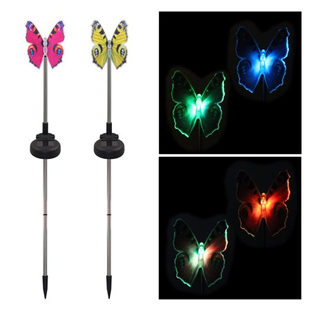 Lawn Yard Art Decoration - 2 Pack LED Solar Garden Stake Light Multi Color-Changing Butterfly Dragonfly Hummingbird Garden Decoration Figurines Lights Outdoor Landscape Lighting for Path, Yard, Lawn, Patio