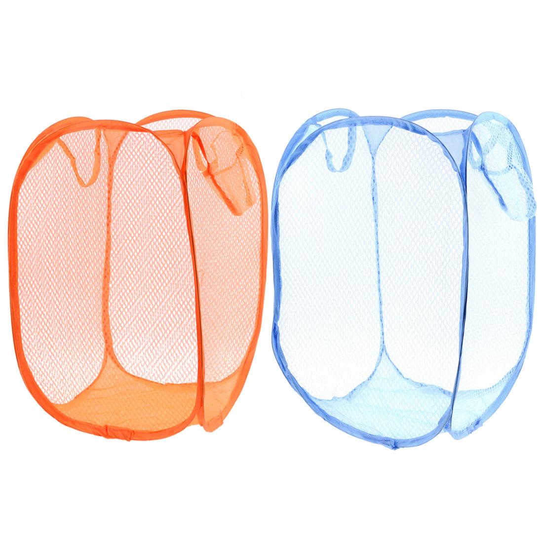 2pcs Orange Blue Foldable Meshy Clothes Storage Pop Up Laundry Basket Hamper