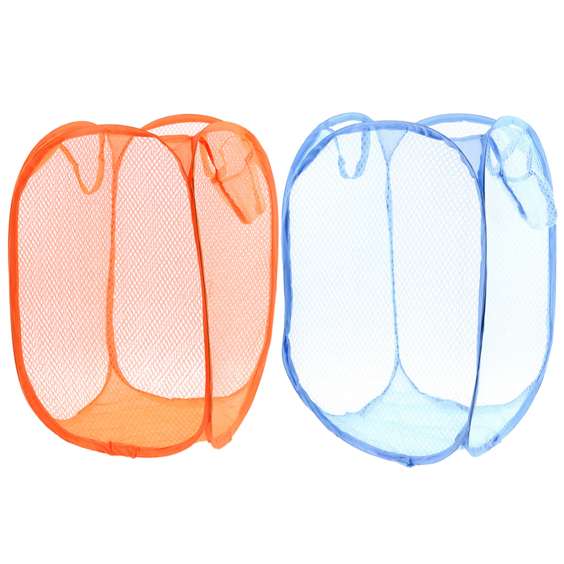 Unique Bargains 2pcs Orange Blue Foldable Meshy Clothes Storage Pop Up Laundry Basket Hamper