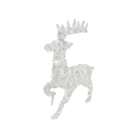 "30"" Lighted White Glittered Rattan Reindeer Christmas Yard ..."