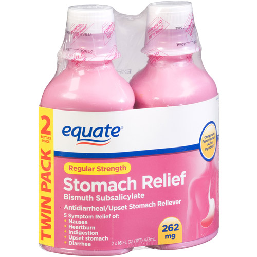 Equate Regular Strength Stomach Relief Bismuth Subsalicylate Liquid, 16 fl oz, (Pack of 2)