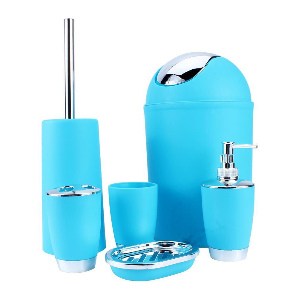 YOSOO New 6Pcs Plastic Bathroom Accessory Set Luxury Bath Accessories Soap Dish Dispenser Tumbler Toothbrush Soap Dish Trash Can Toilet Brush Household (Blue)
