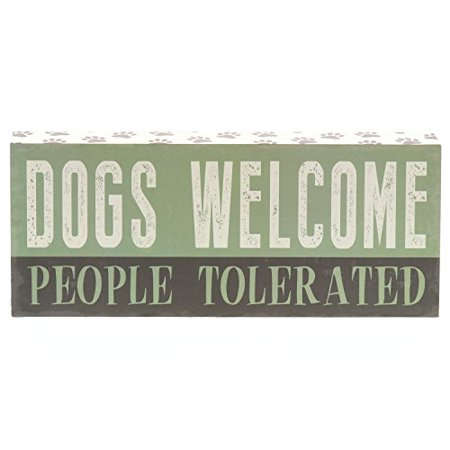 Barnyard Designs Dogs Welcome People Tolerated Box Wall Art Sign, Primitive Country Farmhouse Home Decor Sign With Sayings 12
