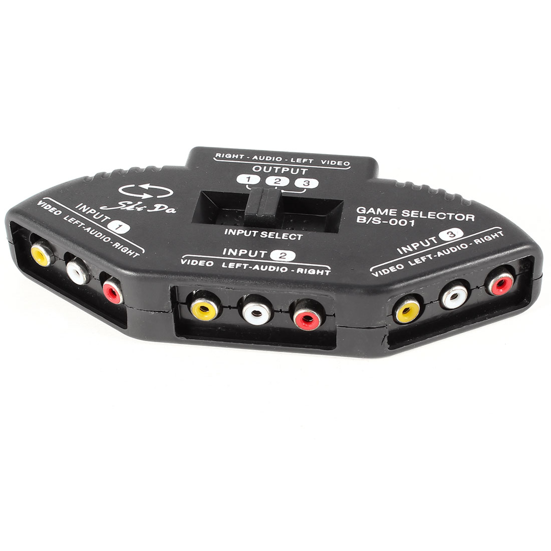 Unique Bargains Black M/M RCA Cable 3-Way Audio Video AV RCA Switch Selector Multi Box Splitter