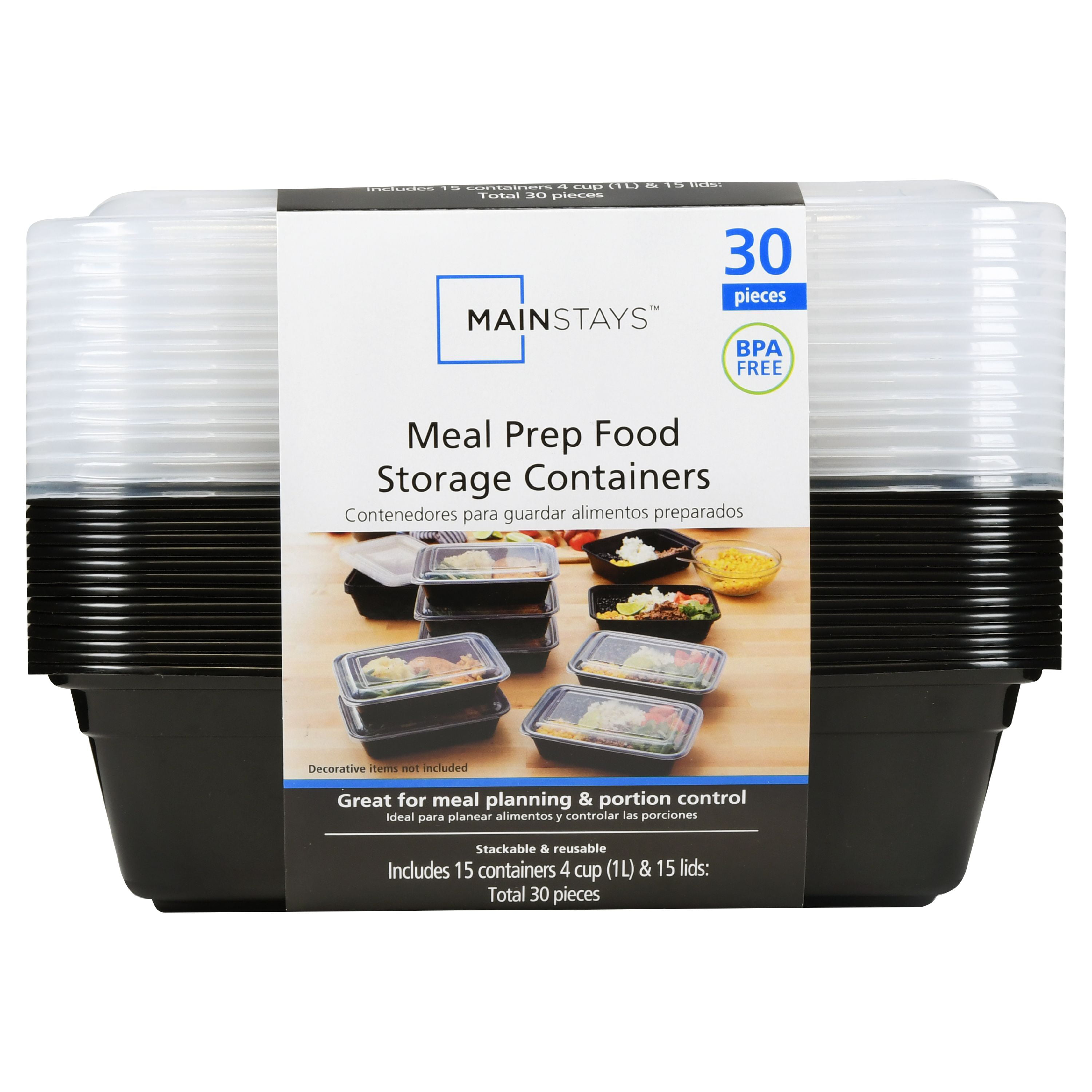 Mainstays Meal Prep Food Storage Containers 30 Count Walmartcom