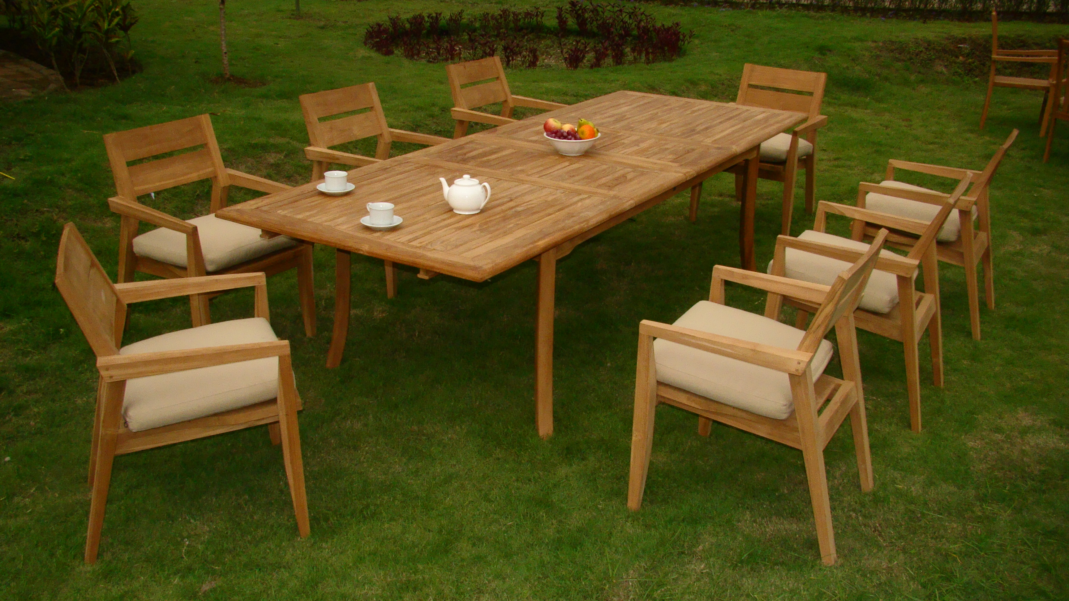 "9 PC A Grade Outdoor Patio Teak Dining Room Set 117"" Double Extension Rectangle Table & 8 Cellore... by"
