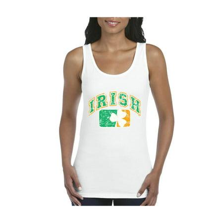 Vintage Irish Flag Shamrock St. Patricks Day Women's Tank Top Clothes (Ireland Tank Top)