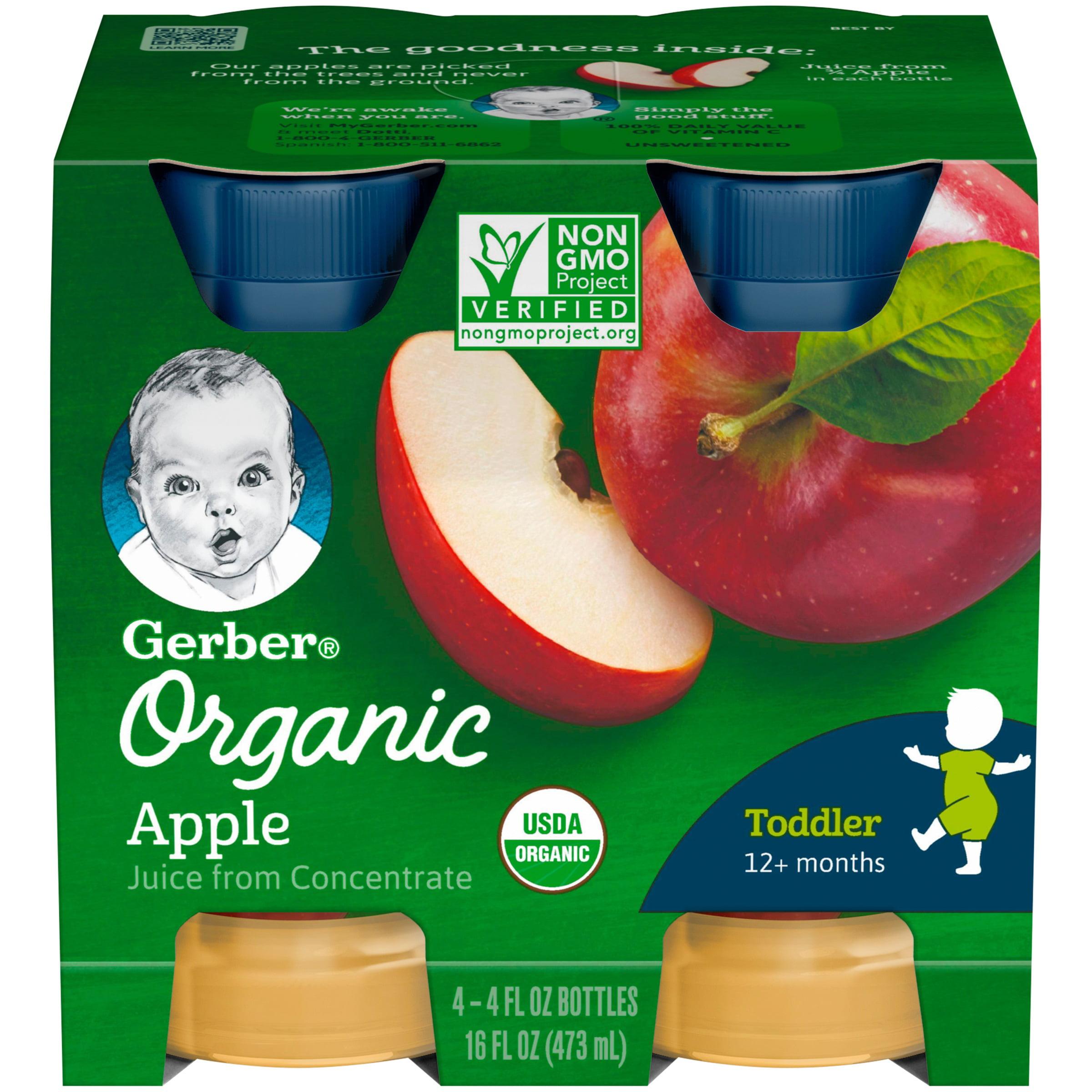 Gerber Organic 100% Apple Juice, 4 fl oz bottle, 4 Count