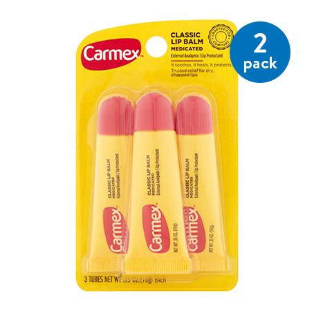 (2 Pack) Carmex Lip Balm Medicated, 3 Ct