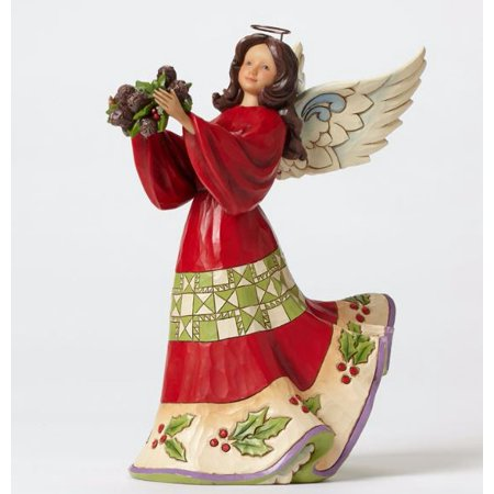 Jim Shore Heartwood Creek Naturally Festive Angel with Holly Christmas Figurine