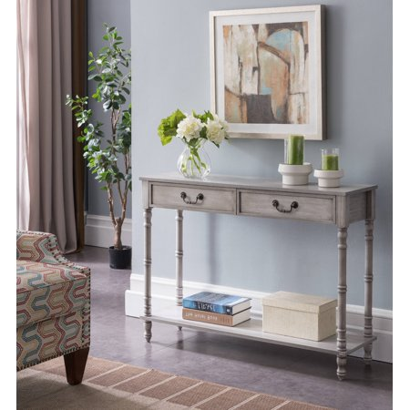 Evan Wash White Wood Industrial Style Entryway Console Display Table With 2 Storage Drawers &
