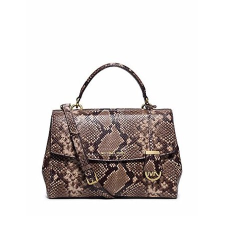d6cc7dc01e Michael Kors - Michael Kors Ava Medium Python Snake Embossed Leather Mk  Satchel Bag Dark Khaki - Walmart.com