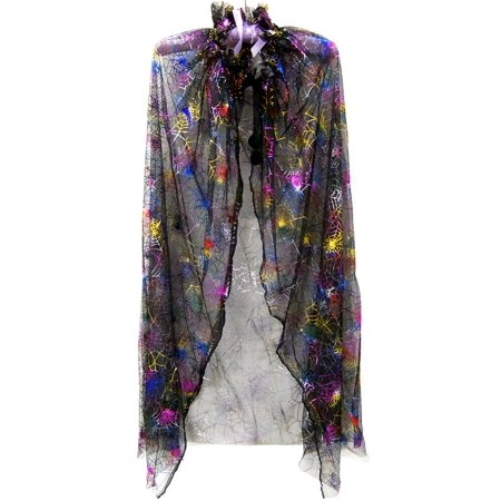 Wenchoice Girl'S Black Cape With Rainbow Spiderweb  - Black Cloaks