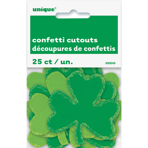 Mini Paper Cutout Shamrock St. Patrick's Day Decorations, 25 Count