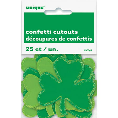 Mini Paper Cutout Shamrock St. Patrick's Day Decorations, 25ct