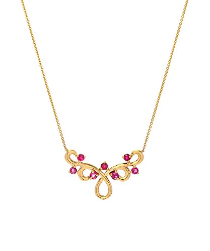 14k Yellow Gold and Ruby Floral Design Necklace, 18 Inches by CharmsAndI