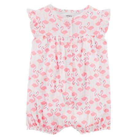 Carter's Baby Girls' Flamingo Snap-Up Cotton Romper](Baby Flamingos)