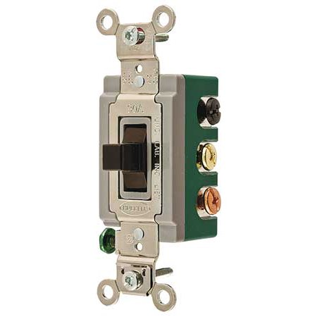 - HUBBELL WIRING DEVICE-KELLEMS HBL1388 Wall Switch, 2-Pole, Toggle, 30A, Brown