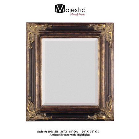 Majestic Mirror Bronze With Gold Square Antique Framed Beveled Glass