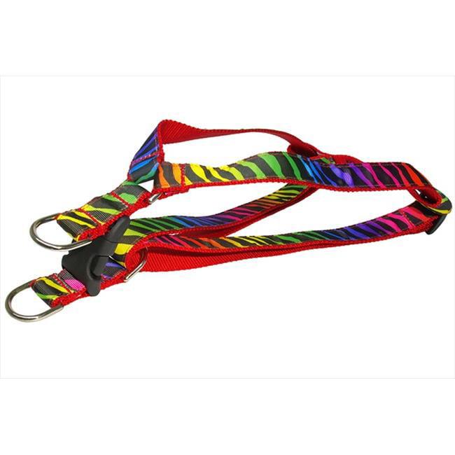 Sassy Dog Wear ZEBRA-RAINBOW3-H Zebra Dog Harness, Rainbow - Medium