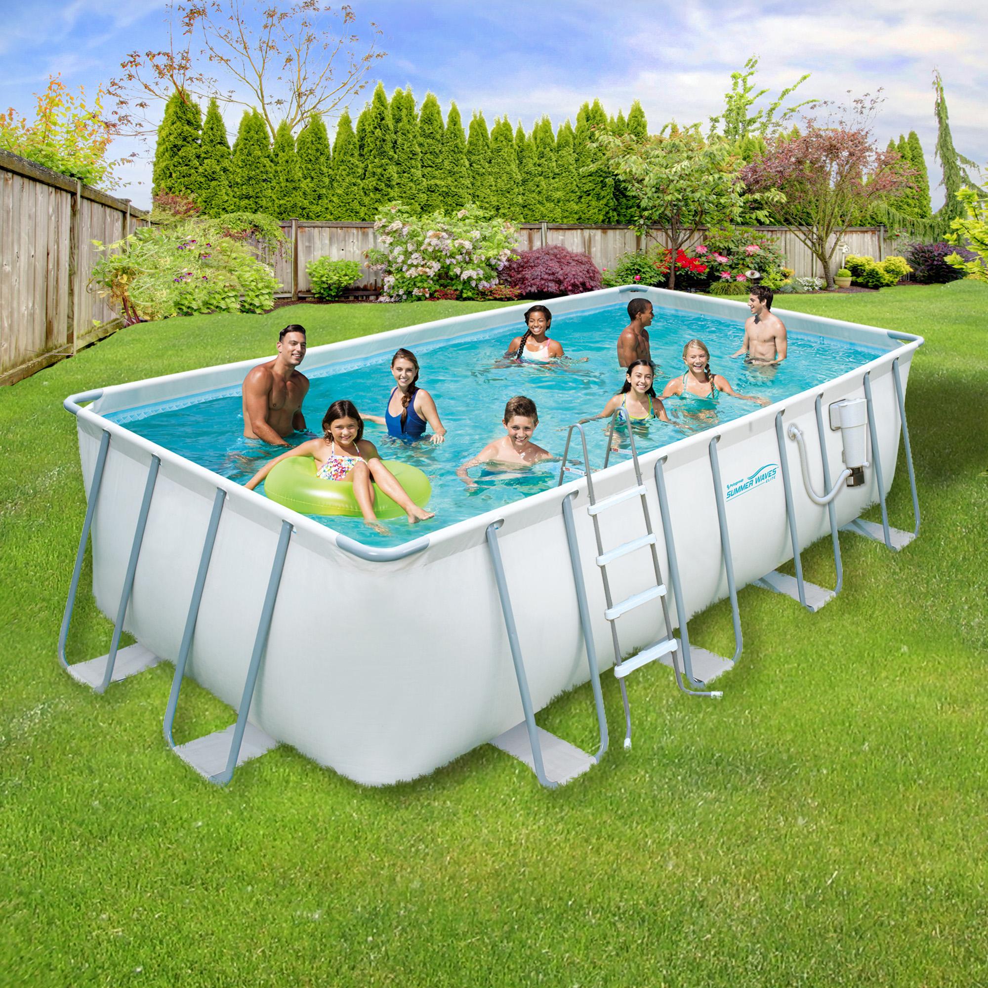Summer Waves Elite 9-ft x 18-ft Rectangular 52-in Deep Metal Frame Swimming Pool Package