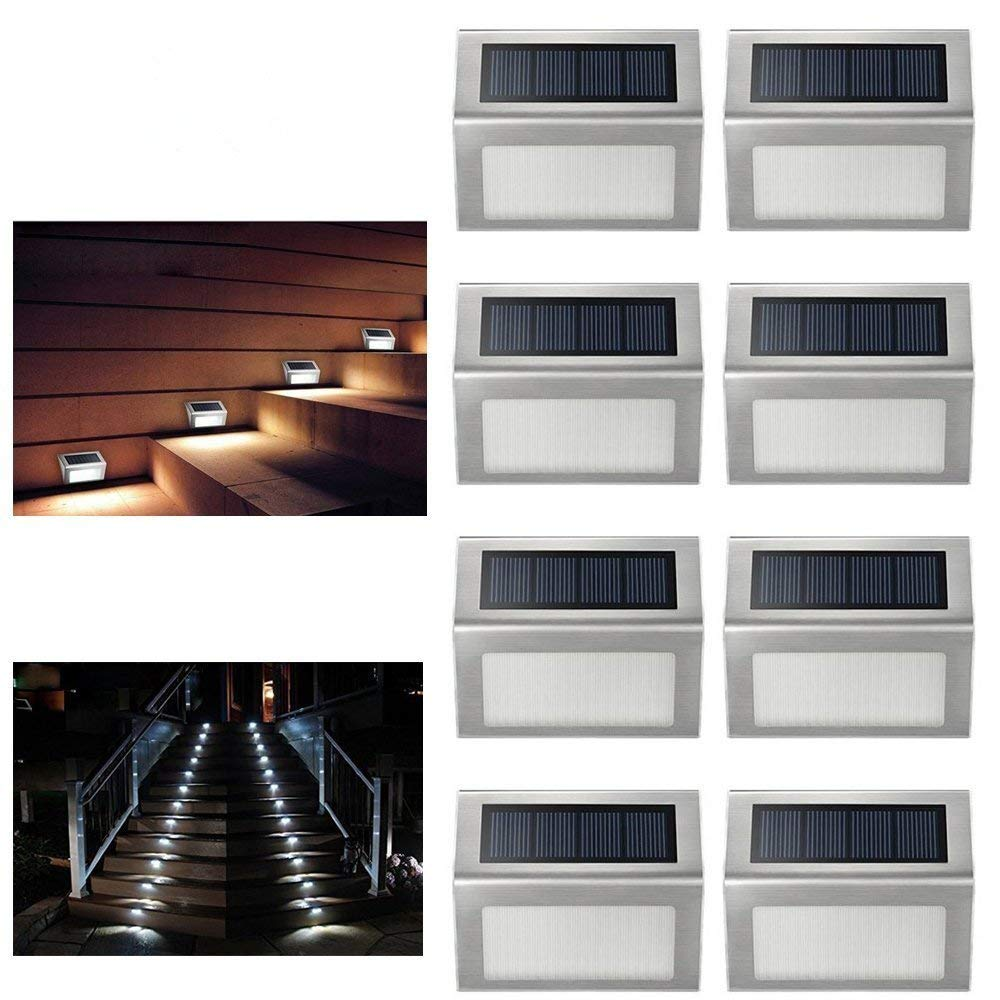 Exterior Solar Step Lights: ELECCTV Solar Step Lights 3 LED Solar Powered Stair Lights