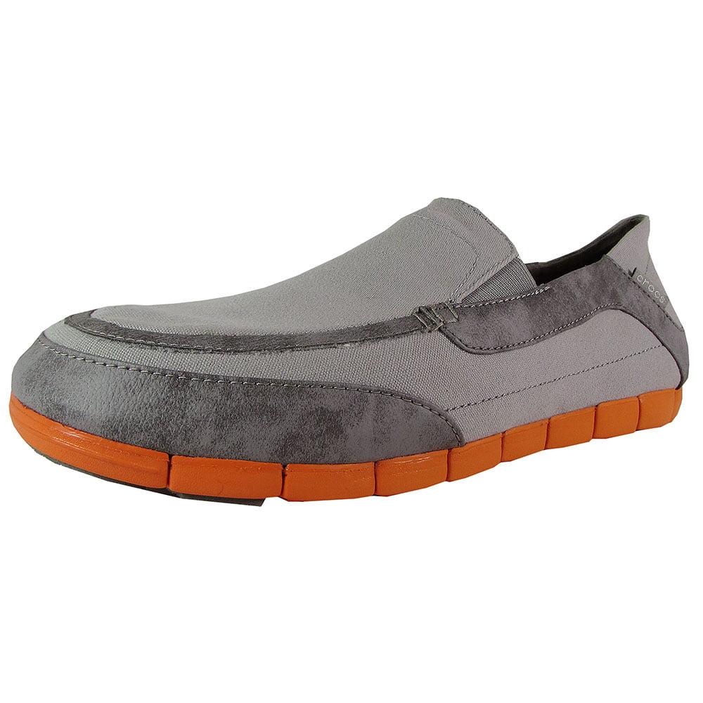 Crocs Mens Stretch Sole Torino Loafer Shoes, Light Grey/Orange, US 12