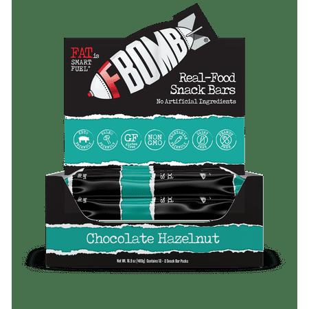 FBOMB Real-Food Snack Bars: Chocolate Hazelnut   Gluten Free   40g, 12-Pack