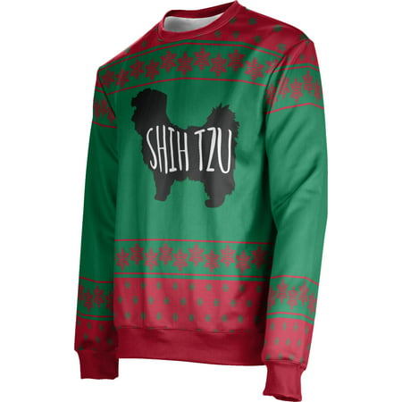 ProSphere Men's Shih Tzu (Green) Ugly Holiday Snowflake Sweater (Apparel) ()