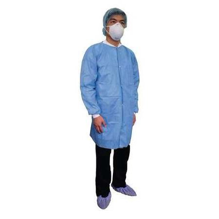 CONDOR 31TV07 Disposable Lab Coat,Basic SMS,Blue,M