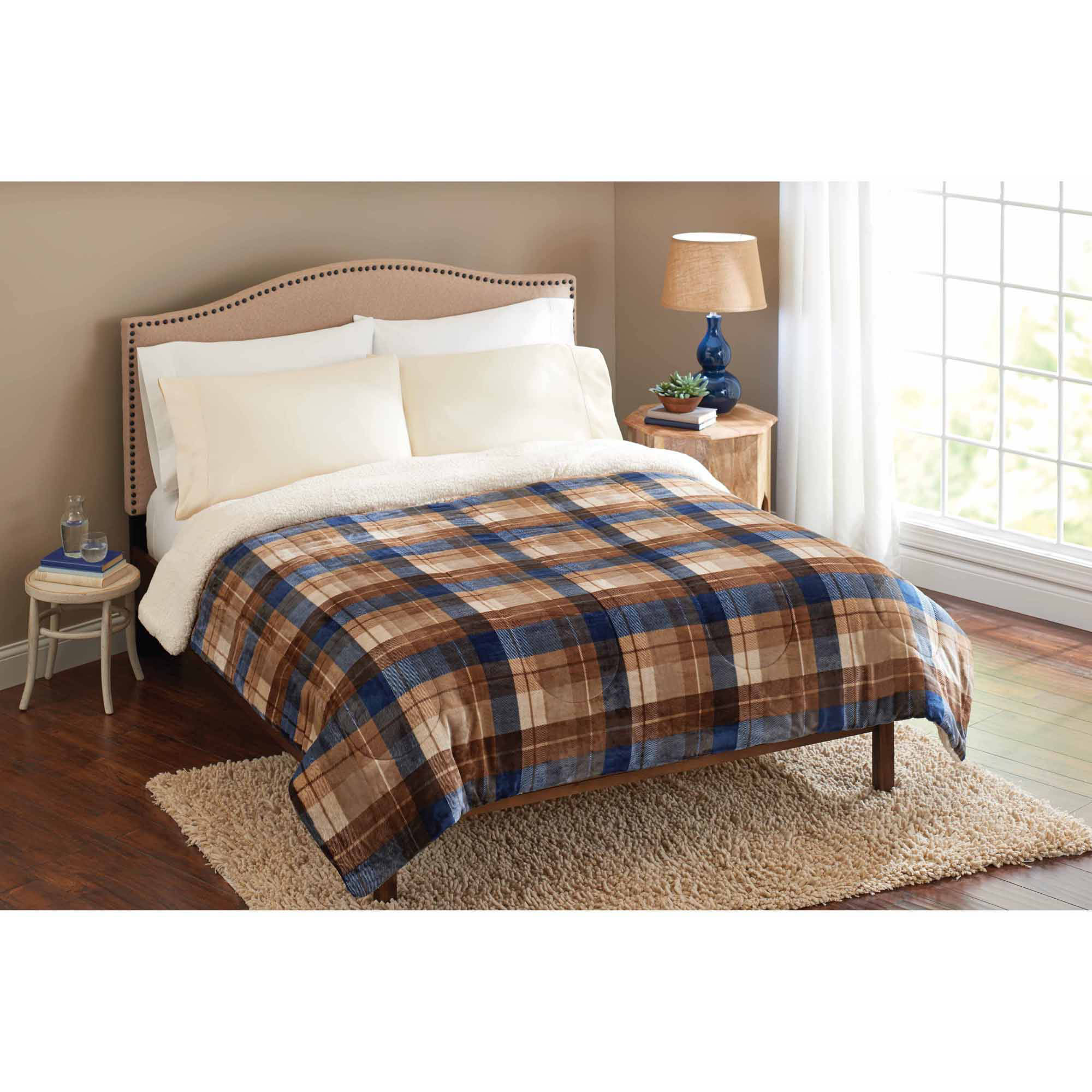 Better Homes and Gardens Velvet Plush Reverse to Sherpa Bedding Comforter