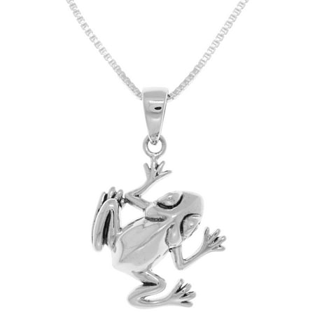 Sterling Silver Jumping Tree Frog Pendant on Box Chain Necklace