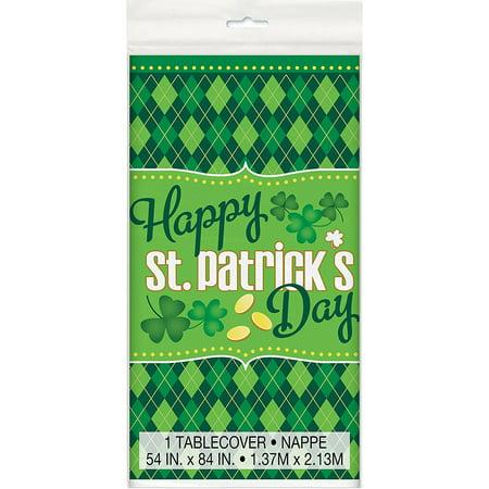 Plastic Argyle St. Patrick's Day Table Cover, 84